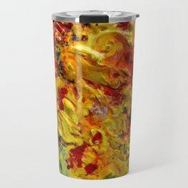 Abstract Yellow Swirls Travel Mug