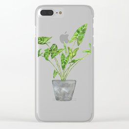 green tropical plant in pot watercolor Clear iPhone Case