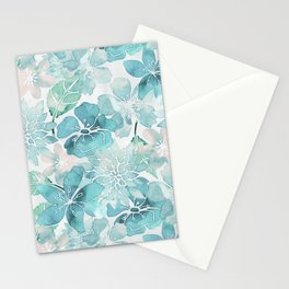 Blue green watercolor flower pattern Stationery Cards