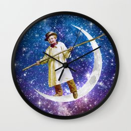 Playing on the Moon 1 Wall Clock
