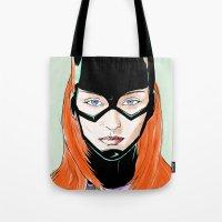 batgirl Tote Bags featuring Batgirl by Matthew Bartlett