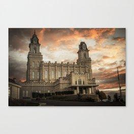 Manti LDS Temple Sky on Fire Canvas Print
