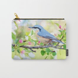 A Bird on a Blossoming Tree Branch Carry-All Pouch