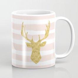 Pink Watercolor Stripes and Gold Deer Coffee Mug
