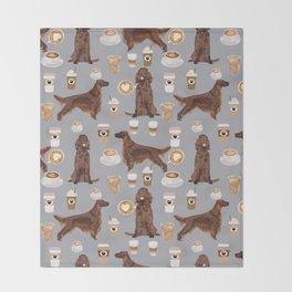 Irish Setter coffee latte dog breed cute custom pet portrait for dog lovers Throw Blanket