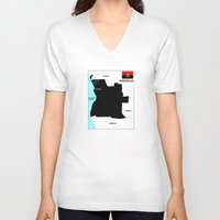 political V-neck T-shirts featuring political map of Angola country with flag by tony tudor