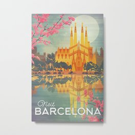 Barcelona Spain Vintage Travel Poster Metal Print