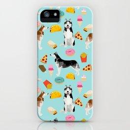 Husky siberian huskies junk food cute dog art sweet treat dogs pet portrait pattern iPhone Case