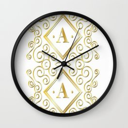 gold initial a Wall Clock