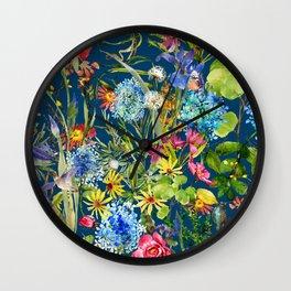 Watercolor flower garden with hummingbird Wall Clock