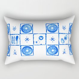 "Watercolor ""Cheat Day"" in Delft (Dutch) Blue Tile Rectangular Pillow"