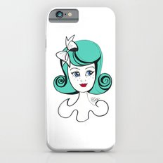 Cute Vintage Fashion Doll Sketch (Aqua hair and red lips) Slim Case iPhone 6s
