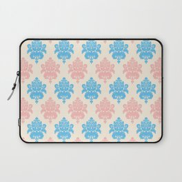 Coral blue ivory vintage chic floral damask pattern Laptop Sleeve