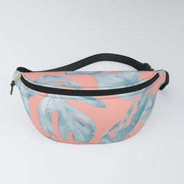 Island Life Pale Teal Blue on Coral Pink Fanny Pack