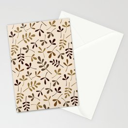 Assorted Leaf Silhouettes Gold Browns Cream Ptn Stationery Cards