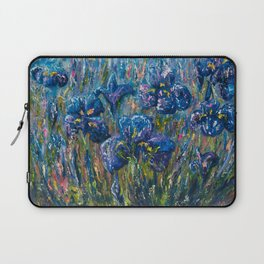 Countryside Irises Oil painting with palette knife Laptop Sleeve