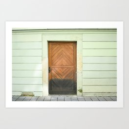 Mint Green + Wood Crafted Door of Bratislava, Beautiful Doors of the World, travel photography print Art Print