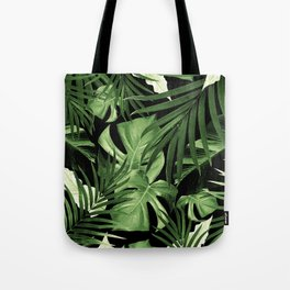 Tropical Jungle Night Leaves Pattern #5 #tropical #decor #art #society6 Tote Bag