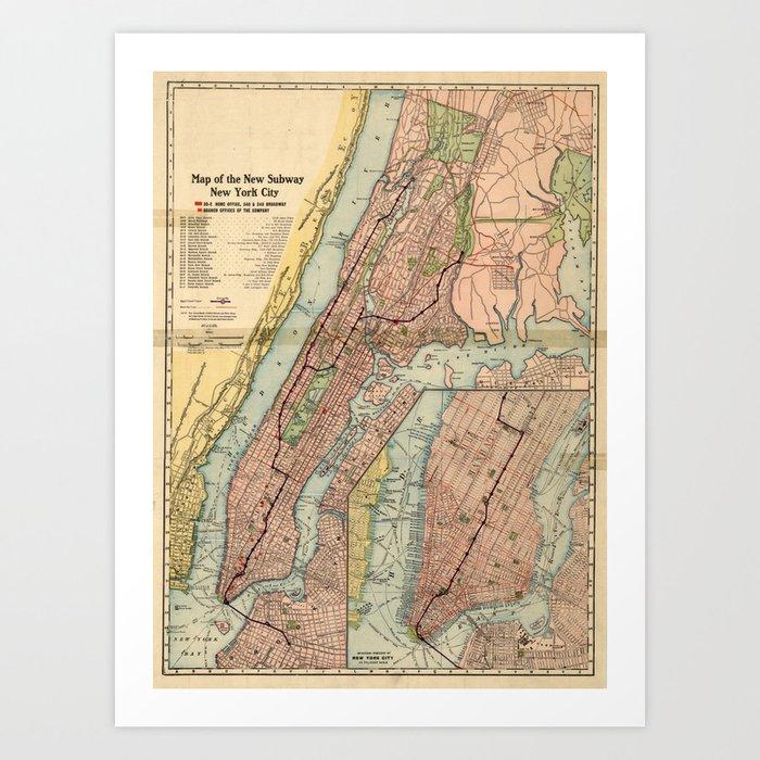 Vintage New York City Subway Map.Vintage Nyc Subway Map 1903 Art Print By Bravuramedia
