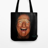 robin williams Tote Bags featuring Robin Williams Abstracto by Tazmatic