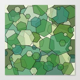 Converging Hexes - Green and Yellow Canvas Print