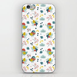 winter birds pattern iPhone Skin