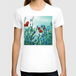 Cornflowers, poppies and chamomile in vintage look T-shirt