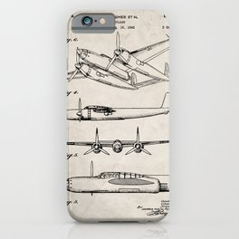 Hughes Lockheed Airplane Patent - Hughes Aviation Art - Antique iPhone Case