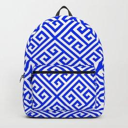 blue white pattern, Greek Key pattern -  Greek fret design Backpack