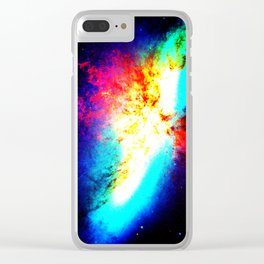 Bright & Colorful Galaxy Messier 82 Clear iPhone Case