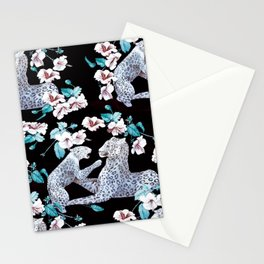 patterned with a leopard cub with its mother surrounded by the Chinese flower. Stationery Cards