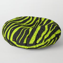Ripped SpaceTime Stripes - Lime Yellow Floor Pillow
