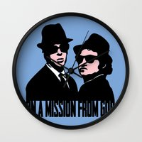 blues brothers Wall Clocks featuring Blues Brothers by John Medbury (LAZY J Studios)