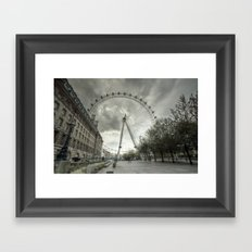 Cloudy London Eye Framed Art Print