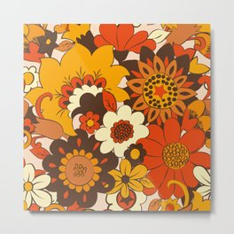 Retro 70s Flower Power, Floral, Orange Brown Yellow Psychedelic Pattern Metal Print