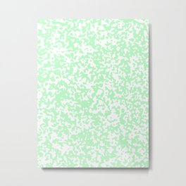 Small Spots - White and Light Green Metal Print
