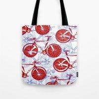 bikes Tote Bags featuring Bikes by StephanieTara