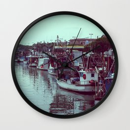 Boats in the blue lagoon Wall Clock