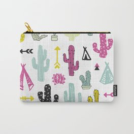 Colorful indian summer cactus garden and teepee illustration patte Carry-All Pouch