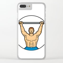 Weightlifter Lifting Barbell Mono Line Art Clear iPhone Case