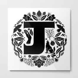 Letter J monogram wildwood Metal Print