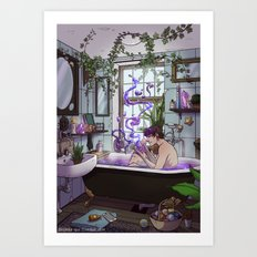 Modern Male Witch Bathroom Art Print