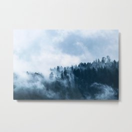 Blue Foggy Rocky Mountains Colorado USA Adventure Metal Print