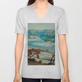 'River Scene at Day Break' desert canyon landscape painting by J.H. Pierneef Unisex V-Neck