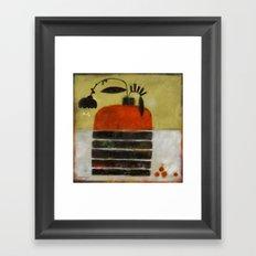 TINY CHERRIES WITH VASE Framed Art Print