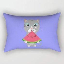 Cat with Melon Rectangular Pillow