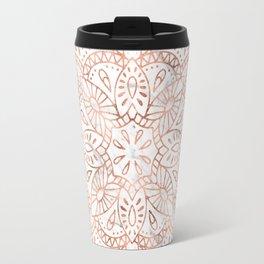 Rose Gold Mandala on Marble Travel Mug