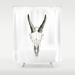 Mountain Goat Skull Shower Curtain