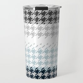 Modern Houndstooth Reinterpreted A – Navy / Gray / White Checked Pattern Travel Mug