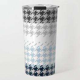 Modern Houndstooth Reinterpreted A – Navy / Gray / White Checked Pattern Travel Mug